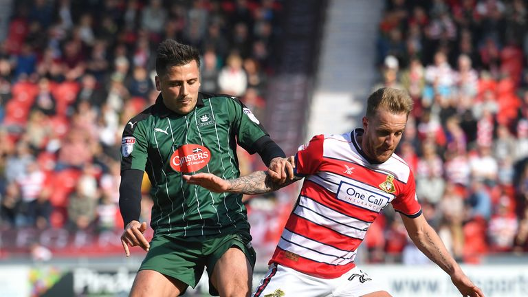 Doncaster Rovers' James Coppinger battles with Plymouth Argyle's Antoni Sarcevic