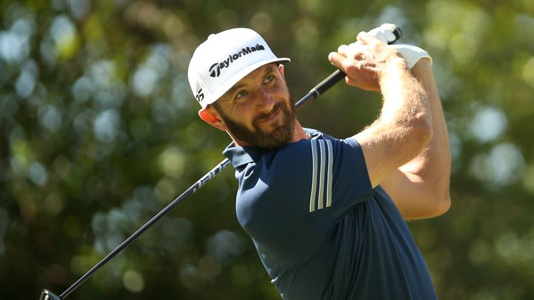 Dustin Johnson tees off on the 12th hole of his match during round four of the World Golf Championships-Dell Technologies Match Play