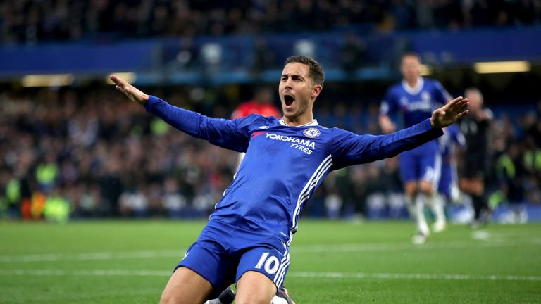 Chelsea's Eden Hazard celebrate scoring his side's third goal of the game during the Premier League match at Stamford Bridge, London.