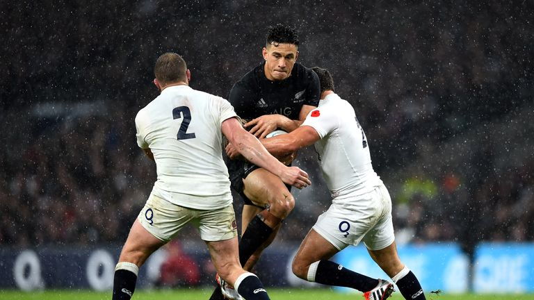 LONDON, ENGLAND - NOVEMBER 08: Sonny Bill Williams of New Zealand is tackled by Dylan Hartley (L) of England during the QBE International match between Eng