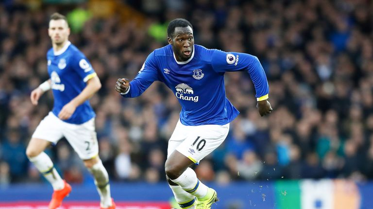Romelu Lukaku in action during a Premier League match at Goodison Park