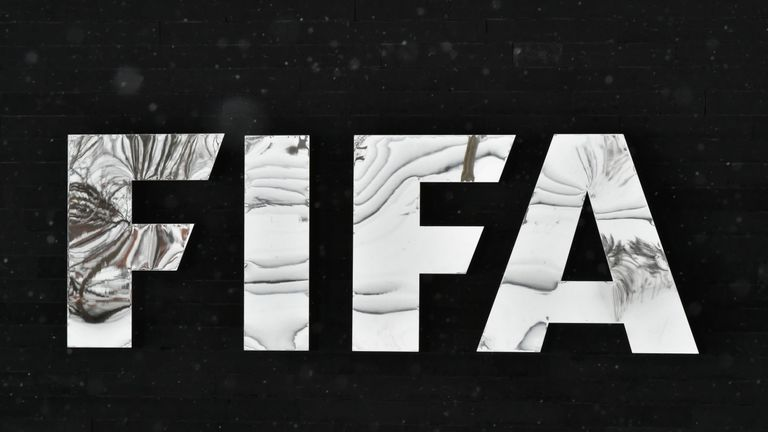 General view of the FIFA logo pictured at FIFA headquarters in Zurich