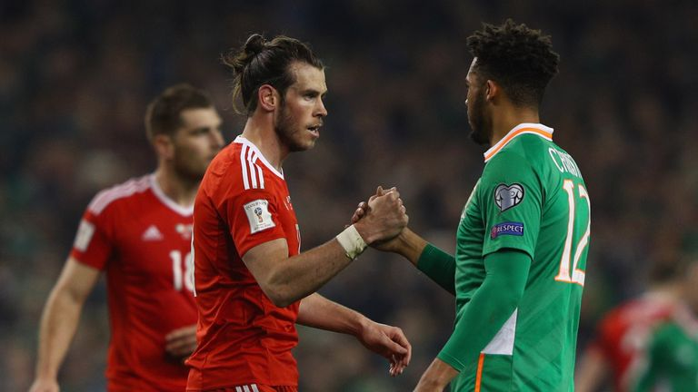 Gareth Bale of Wales and Cyrus Christie of the Republic of Ireland shake hands after the FIFA 2018 World Cup Qualifier at the Aviva Stadium, Dublin