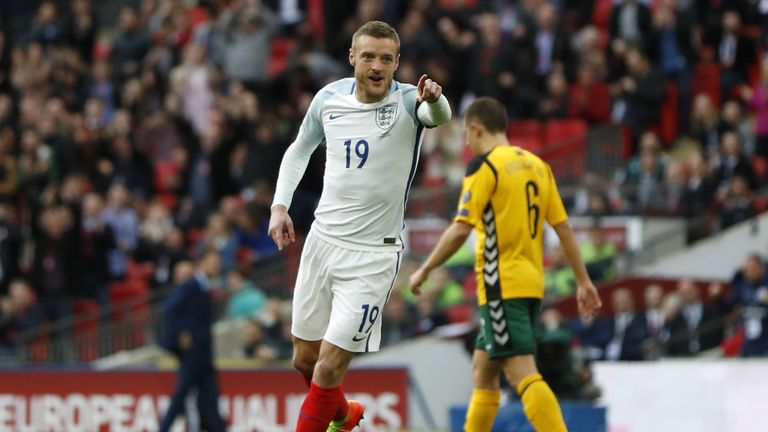 England's Jamie Vardy celebrates after scoring