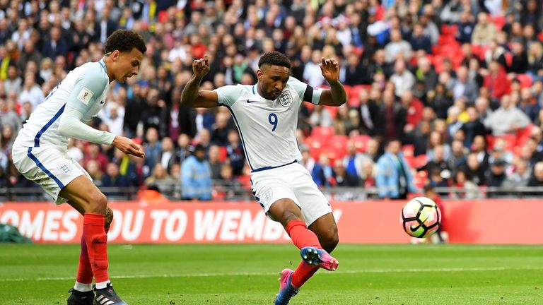 Jermain Defoe scores for England against Lithuania