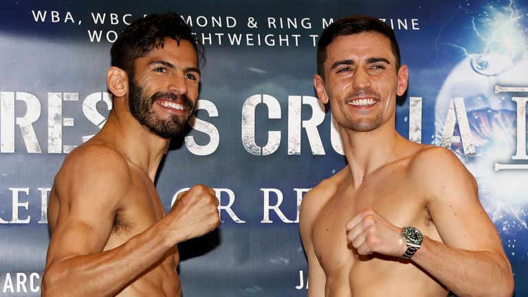 Anthony Crolla (right) and Jorge Linares during the weigh-in at the Radisson Edwardian Hotel, Manchester.