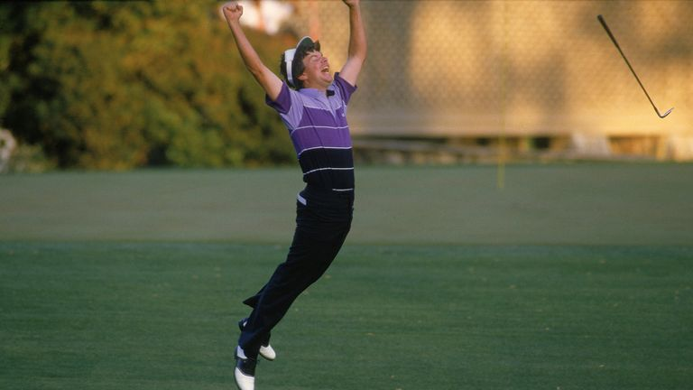 Larry Mize celebrates after chipping in for birdie to win the 1987 Masters