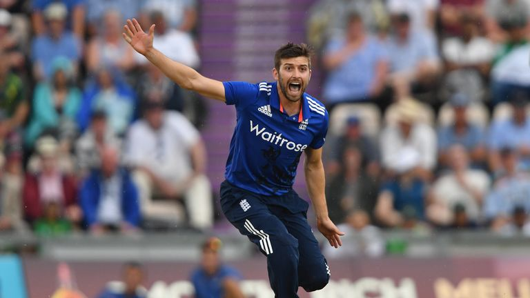SOUTHAMPTON, ENGLAND - AUGUST 24:  Mark Wood of England in action during the 1st One Day International between  England and Pakistan at the Ageas Bowl on A