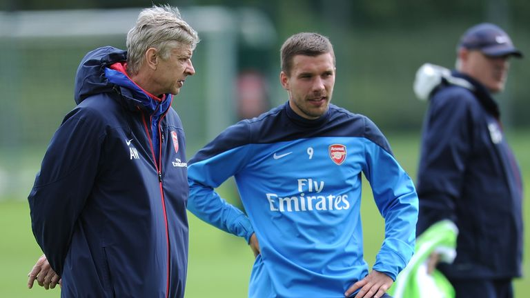 ST ALBANS, ENGLAND - MAY 10: of Arsenal during a training session at London Colney on May 10, 2014 in St Albans, England