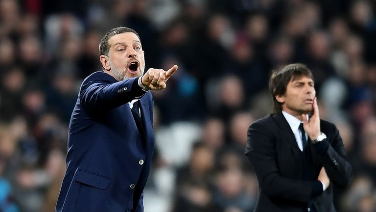 Slaven Bilic shouts instructions to his team from the sideline at The London Stadium