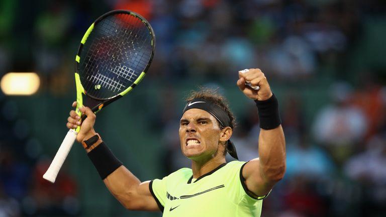 Rafael Nadal celebrates his three-set victory