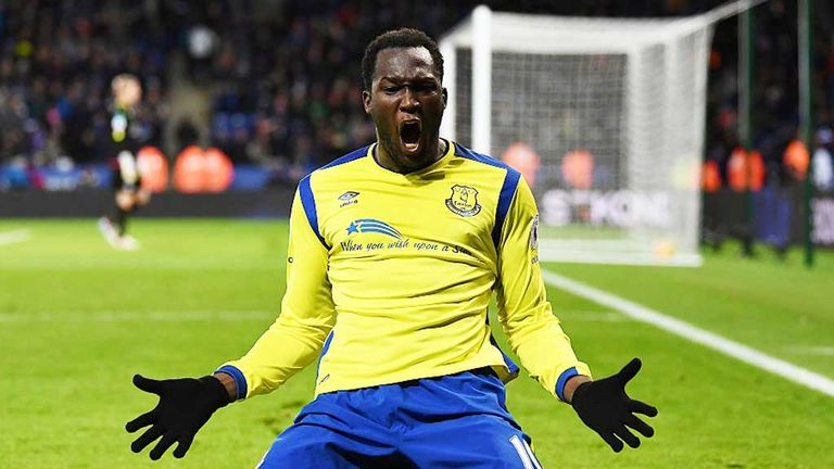 Romelu Lukaku celebrates his goal at Leicester in December 2016