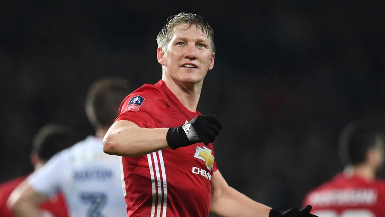 Manchester United's German midfielder Bastian Schweinsteiger celebrates scoring their fourth goal during the English FA Cup fourth round football match bet