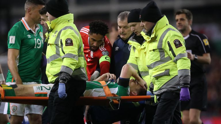 Republic of Ireland's Seamus Coleman is injured during the World Cup Qualifying, Group D match v Wales at the Aviva Stadium
