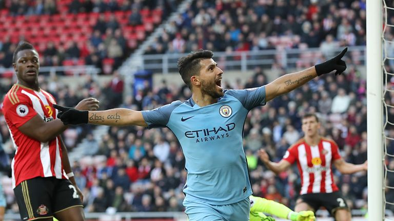 Manchester City's Sergio Aguero celebrates scoring his side's first goal of the game during the Premier League match at the Stadium of Light, Sunderland.