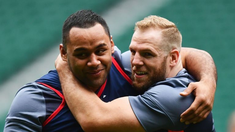 Billy Vunipola James Haskell embrace during the England Captain's Run at Twickenham Stadium