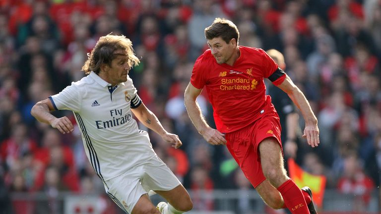 Liverpool's Steven Gerrard in action during the charity match at Anfield, Liverpool.