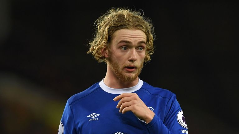 Everton's English midfielder Tom Davies during the English Premier League football match between Everton and Southampton at Goodison Park in Liverpool, nor