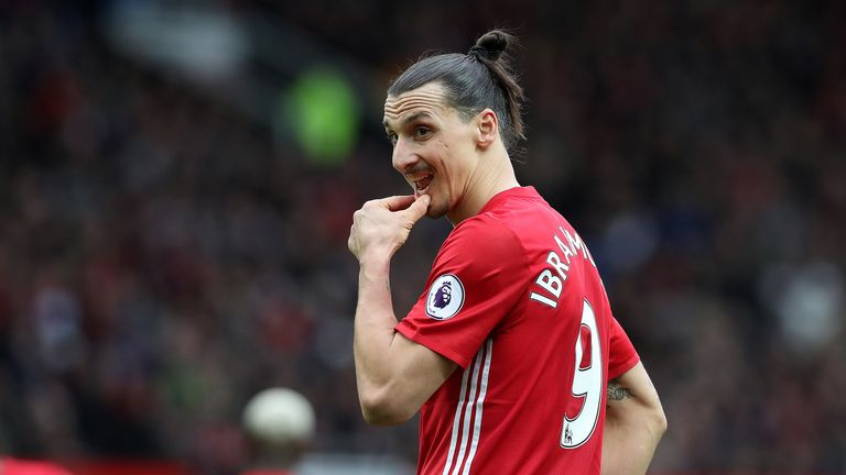 Zlatan Ibrahimovic takes a moment to reflect during the Premier League match against Bournemouth