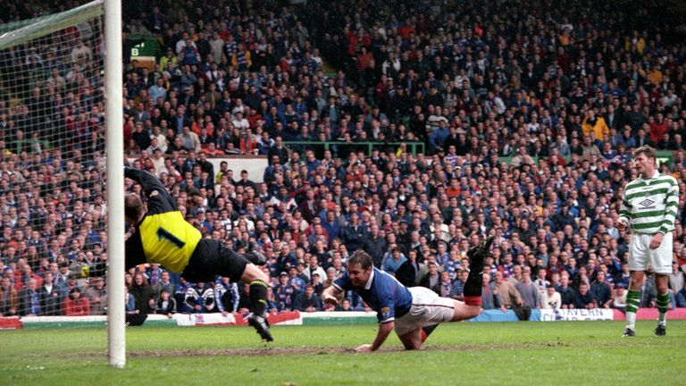 Ally McCoist dives to head Rangers in front against Celtic in their 1998 Scottish Cup final