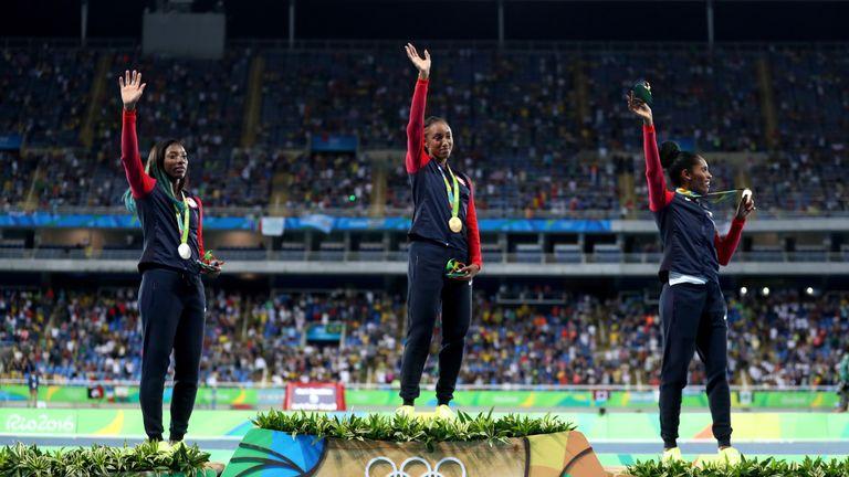 Brianna Rollins celebrates her victory in Rio