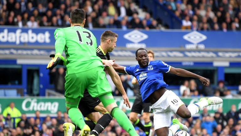 Romelu Lukaku slipped before taking a shot on goal early on in the first half