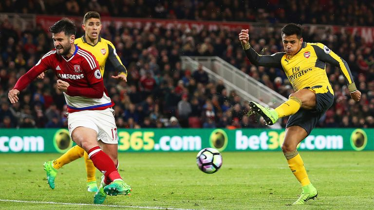 Alexis Sanchez scored his 19th goal of the season with a fine free-kick