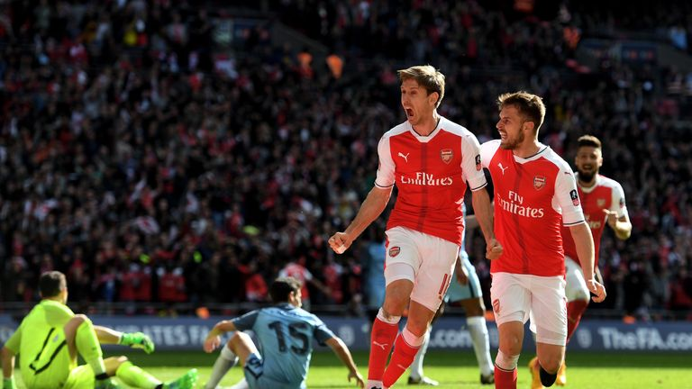 Nacho Monreal celebrates scoring Arsenal's equaliser
