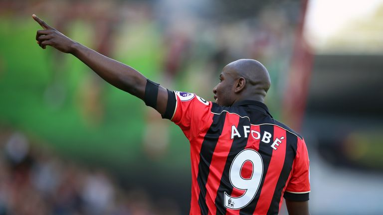 Benik Afobe celebrates after giving Bournemouth a 2-0 lead