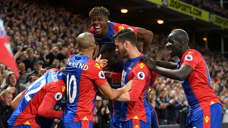 Palace team-mates celebrate Yohan Cabaye's goal in the second half