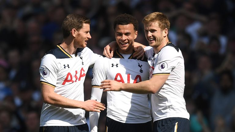 Dele Alli celebrates scoring for Tottenham