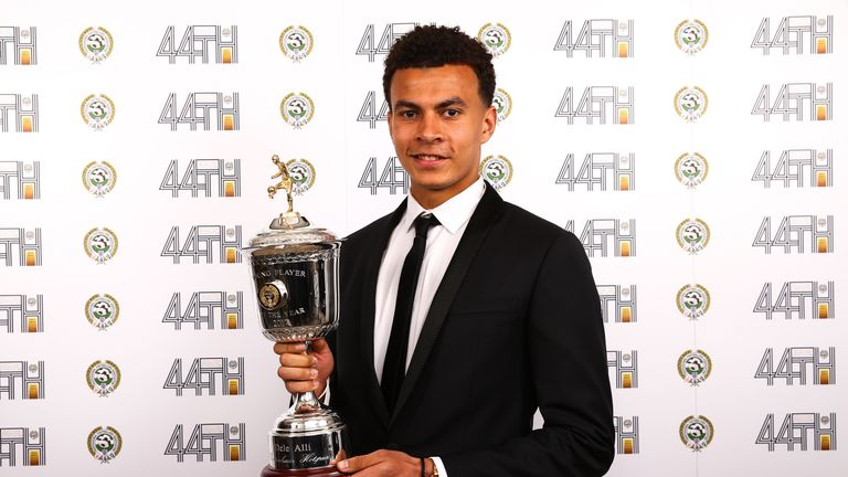 Tottenham Dele Alli with the PFA Young Player of the Year award