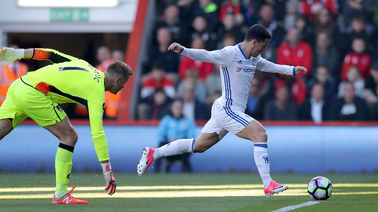 Hazard scores his side's second goal of the game at the Vitality Stadium