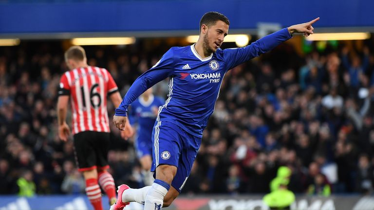 Eden Hazard scored Chelsea's opener against Southampton