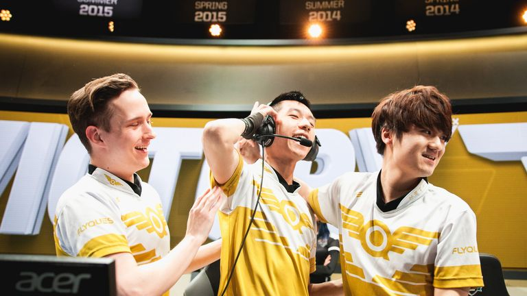 NA LCS side Flyquest celebrate their quarter-final victory over Counter Logic Gaming