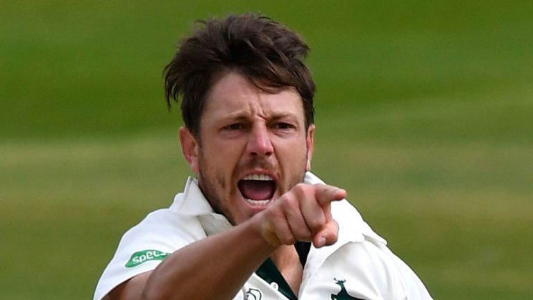 James Pattinson, in action for Notts, celebrates dismissing  Durham's Keaton Jennings