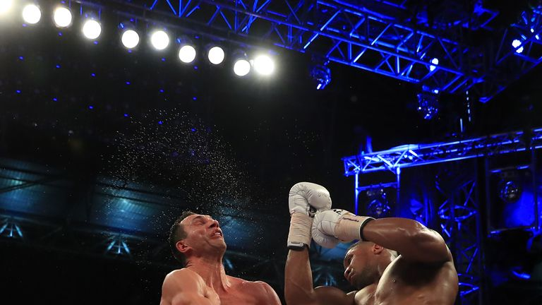 Joshua (right) beat Wladimir Klitschko in the 11th round of their Wembley fight on Saturday