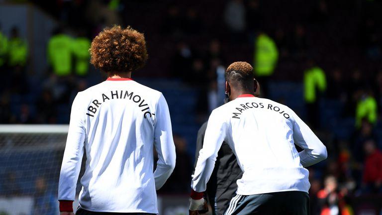 Paul Pogba and Marouane Fellaini wore shirts displaying the names of team-mates Marcos Rojo and Zlatan Ibrahimovic