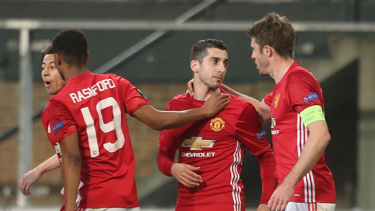 Henrikh Mkhitaryan (centre) scored Manchester United's vital away goal