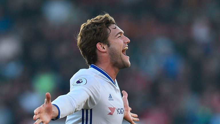 Marcos Alonso has scored five goals in his first season at Chelsea but was absent at Old Trafford
