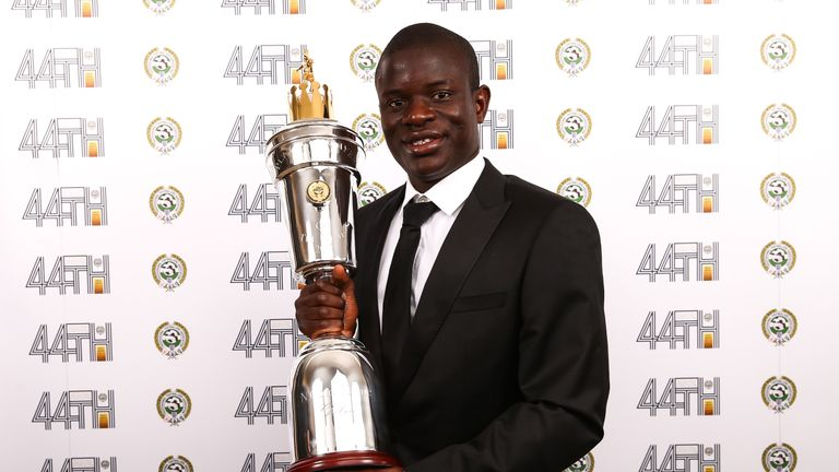 N'Golo Kante with the PFA Players' Player of the Year award