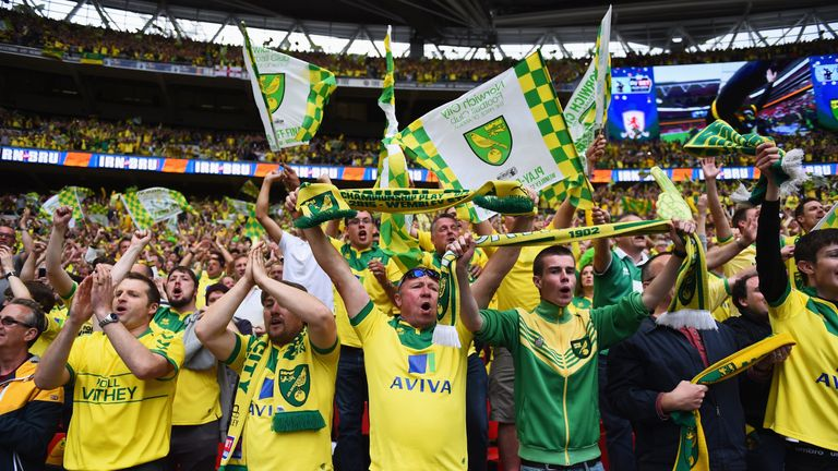 Norwich fans celebrate winning the Championship play-off  final in 2015