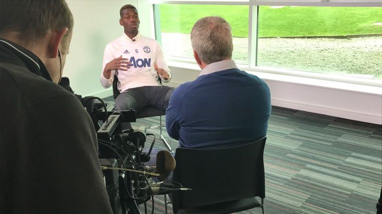 Sky Sports' Geoff Shreeves talks to Manchester United midfielder Paul Pogba about his season so far