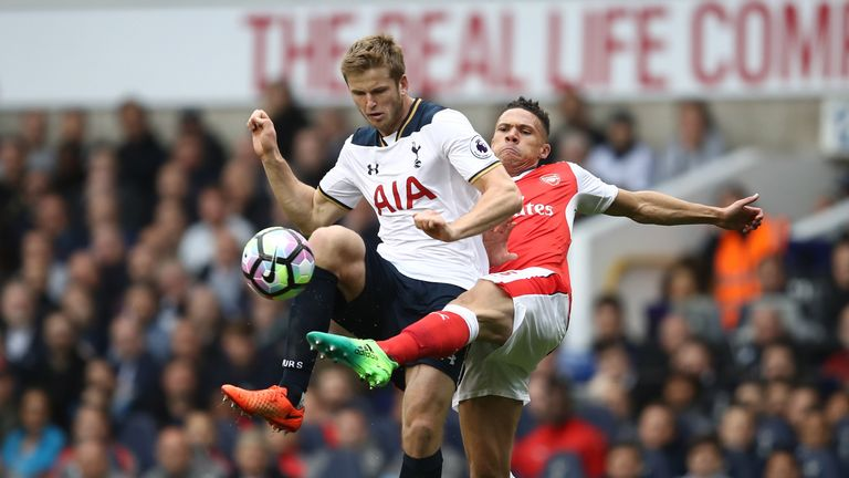 Eric Dier and Kieran Gibbs battle for possession