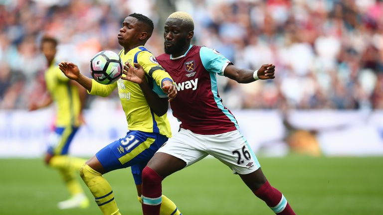 Arthur Masuaku puts pressure on Ademola Lookman in the game at London Stadium