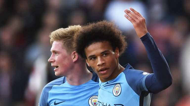 Leroy Sane celebrates adding a second for Manchester City