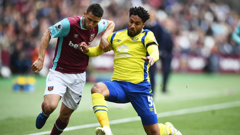 Jonathan Calleri is challenged by Ashley Williams at The London Stadium