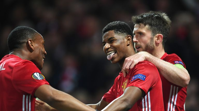 Marcus Rashford celebrates his winner on Thursday night