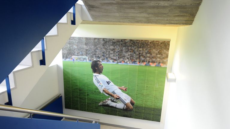 An image of Raul adorns a wall inside Real Madrid's academy building