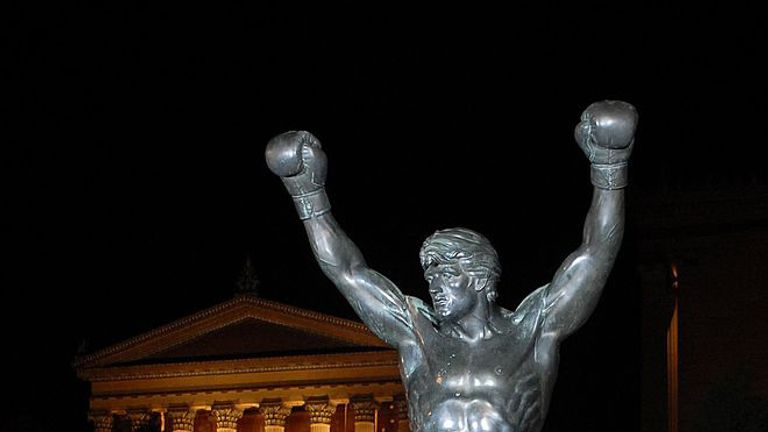 The Rocky statue rests in front of the Philadelphia Museum of Art after the premier of Rocky Balbao
